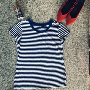 Gap striped easy straight fit T-shirt royal blue
